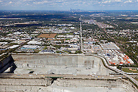aerial photograph Thorton Quarry, Thorton, Illinois, Chicago skyline in background