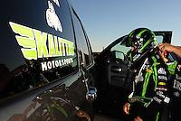 Sept. 23, 2011; Ennis, TX, USA: NHRA funny car driver Alexis DeJoria during qualifying for the Fall Nationals at the Texas Motorplex. Mandatory Credit: Mark J. Rebilas-