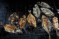 SIERRA LEONE, Freetown, beach river No. 2, grilled fish in restaurant