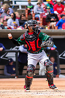Great Lakes Loons catcher Ramon Rodriguez (13) throws down to second base between innings during a Midwest League game against the Wisconsin Timber Rattlers on May 12, 2018 at Fox Cities Stadium in Appleton, Wisconsin. Wisconsin defeated Great Lakes 3-1. (Brad Krause/Four Seam Images)