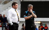 Photo: Richard Lane/Richard Lane Photography. RC Toulon v Wasps.  European Rugby Champions Cup Quarter Final. 05/04/2015. Wasps' Director of Rugby, Dai Young and Team Manager, Kevin Harman.