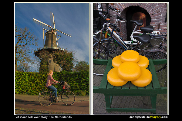 Netherlands, Leiden.  Icons Improve Your Story-telling.<br /> (Left photo) Windmills 'say' Holland, so does a cyclist. Compose a nice photo of the windmill, then wait for a cyclist to ride by.  (Right photo) When you have soft, diffuse light (no shadows), try photographing intimate subjects or still-lifes. More icons: cheese and bicycles in Gouda, Netherlands.