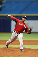 Boston Red Sox Dioscar Romero (92) during an instructional league game against the Tampa Bay Rays on September 24, 2015 at Tropicana Field in St Petersburg, Florida.  (Mike Janes/Four Seam Images)