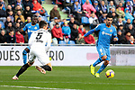 Getafe CF's Angel Rodriguez and Valencia CF's Gabriel Armando de Abreu Paulista during La Liga match between Getafe CF and Valencia CF at Coliseum Alfonso Perez in Getafe, Spain. November 10, 2018.