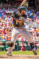 25 July 2013: Pittsburgh Pirates outfielder Josh Harrison in action against the Washington Nationals at Nationals Park in Washington, DC. The Nationals salvaged the last game of their series, winning 9-7 ending their 6-game losing streak. Mandatory Credit: Ed Wolfstein Photo *** RAW (NEF) Image File Available ***