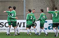 KVC Deerlijk Sport - Blauwvoet Otegem : Siemen Dekiere (links) en ploegmaats vieren de 2-0 voor Deerlijk<br /> foto VDB / Bart Vandenbroucke