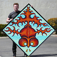 March. 21, 2021. Vista.,USA.  Artist Jamie Scott Lytle, Red Fish 2, acrylic on board, 4' X 4'    Jamie Scott Lytle. Copyright.