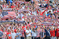 Chicago, IL - Sunday July 28, 2013:   USA fans hold up their flags and scarfs during the CONCACAF Gold Cup Finals soccer match between the USMNT and Panama, at Soldier Field in Chicago, IL.