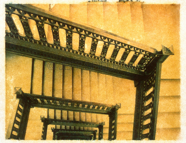 Winding Staircase - Polaroid Transfer<br /> <br /> AVAILABLE FROM JEFF AS A FINE ART PRINT<br /> <br /> AVAILABLE FOR COMMERCIAL AND EDITORIAL LICENSING EXCLUSIVELY FROM GETTY IMAGES.  Please search for image # 488297 on www.gettyimages.com