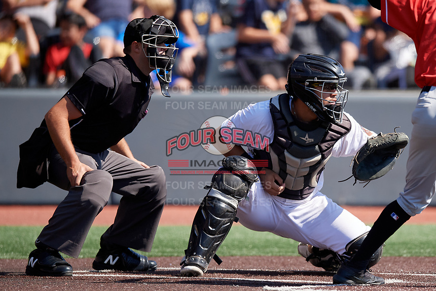 Home plate umpire Paul Roemer and West Virginia Black Bears catcher Elys Escobar (3) during a NY-Penn League game against the Batavia Muckdogs on August 29, 2019 at Monongalia County Ballpark in Morgantown, New York.  West Virginia defeated Batavia 5-4 in ten innings.  (Mike Janes/Four Seam Images)