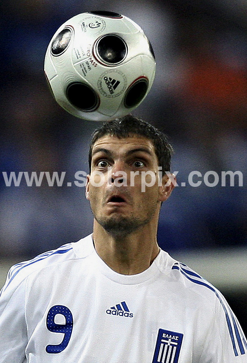 **ALL ROUND PICTURES FROM SOLARPIX.COM**.**SYNDICATION RIGHTS FOR UK AND SPAIN ONLY**.Euro 2008 European Football Championship being held in Austria/Switzerland.  Preliminary, Group D, Match 23, Greece vs Spain, at the Wals-Siezenheim Stadium, Salzburg, Austria. 18th June 2008..This pic: Angelos Charisteas..JOB REF: 6688 CPR/R Hartmann        .DATE: 18_06_2008.**MUST CREDIT SOLARPIX.COM OR DOUBLE FEE WILL BE CHARGED* *UNDER NO CIRCUMSTANCES IS THIS IMAGE TO BE REPRODUCED FOR ANY ONLINE EDITION WITHOUT PRIOR PERMISSION*