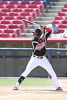 Ronald Guzman (31) of the High Desert Mavericks bats during a game against the Bakersfield Blaze at Mavericks Stadium on May 18, 2015 in Adelanto, California. High Desert defeated Bakersfield, 7-6. (Larry Goren/Four Seam Images)