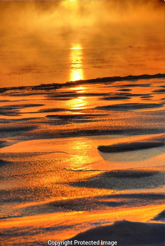 sunrise on newly formed ice