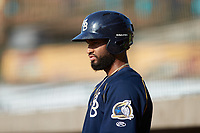 Jonathan Sierra (56) of the Myrtle Beach Pelicans waits for his turn to hit during the game against the Lynchburg Hillcats at Bank of the James Stadium on May 23, 2021 in Lynchburg, Virginia. (Brian Westerholt/Four Seam Images)
