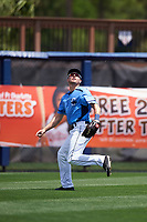 Charlotte Stone Crabs left fielder Ryan Boldt (20) tracks a fly ball during a game against the Lakeland Flying Tigers on April 16, 2017 at Charlotte Sports Park in Port Charlotte, Florida.  Lakeland defeated Charlotte 4-2.  (Mike Janes/Four Seam Images)