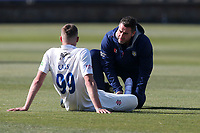 Injury concern for Durham bowler Brydon Carse during Essex CCC vs Durham CCC, LV Insurance County Championship Group 1 Cricket at The Cloudfm County Ground on 17th April 2021
