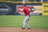 Orem Owlz second baseman Justin Jones (33) prepares to make a throw to first base during a Pioneer League game against the Missoula Osprey at Ogren Park Allegiance Field on August 19, 2018 in Missoula, Montana. The Missoula Osprey defeated the Orem Owlz by a score of 8-0. (Zachary Lucy/Four Seam Images)