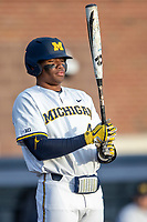 Michigan Wolverines designated hitter Jordan Nwogu (42) at the plate against the San Jose State Spartans on March 27, 2019 in Game 2 of the NCAA baseball doubleheader at Ray Fisher Stadium in Ann Arbor, Michigan. Michigan defeated San Jose State 3-0. (Andrew Woolley/Four Seam Images)