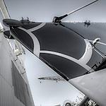 Alain Thébault  is presenting  the new look for the Hydroptere DCNS, La Ciotat in the Bouches-du-Rhône, Provence-Alpes-Côte d'Azur, France.