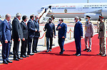 Iraqi Prime Minister Mustafa al-Kadhemi receiving Egyptian President Abdel Fattah al-Sisi, upon his arrival at the airport in the capital Baghdad, to attend a regional summit, on August 28, 2021. Photo by Egyptian President Office