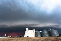 Thunderstorm Shelf Cloud above Grain Silos in Goodland, KS, June 15, 2012