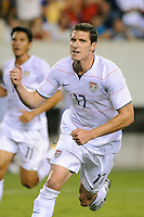 Kenny Cooper (17) of the United States (USA) celebrates scoring the game winning goal in overtime. The United States (USA) defeated Panama (PAN) 2-1 during a quarterfinal match of the CONCACAF Gold Cup at Lincoln Financial Field in Philadelphia, PA, on July 18, 2009.