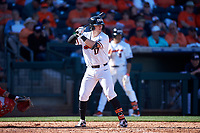 Oregon State Beavers Troy Claunch (17) at bat during an NCAA game against the New Mexico Lobos at Surprise Stadium on February 14, 2020 in Surprise, Arizona. (Zachary Lucy / Four Seam Images)