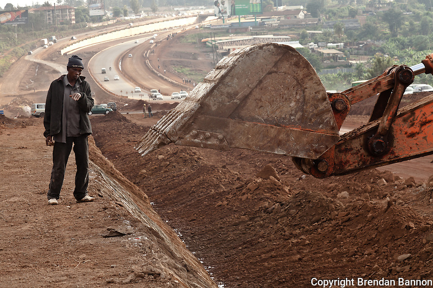 Kenyans working for China Wu Yi Company building the road from Nairobi to Thika.