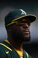 OAKLAND, CA - SEPTEMBER 25:  Starling Marte #2 of the Oakland Athletics runs off the field in between innings against the Houston Astros during the game at the Oakland Coliseum on Saturday, September 25, 2021 in Oakland, California. (Photo by Brad Mangin)