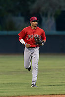 AZL Angels center fielder Jordyn Adams (21) jogs off the field between innings of an Arizona League game against the AZL Dodgers at Camelback Ranch on July 8, 2018 in Glendale, Arizona. The AZL Dodgers defeated the AZL Angels by a score of 5-3. (Zachary Lucy/Four Seam Images)