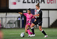 Jessica Silva Valdebenito (18 Charleroi) pictured in a duel with Aalst's Margaux Van Ackere during a female soccer game between Sporting Charleroi and Eendracht Aalst on the 8th  matchday of the 2020 - 2021 season of Belgian Scooore Womens Super League , friday 20 th of November 2020  in Marcinelle , Belgium . PHOTO SPORTPIX.BE | SPP | DAVID CATRY