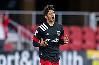 WASHINGTON, DC - MAY 13: Adrien Perez #16 of D.C. United reacts to a missed shot on goal during a game between Chicago Fire FC and D.C. United at Audi FIeld on May 13, 2021 in Washington, DC.