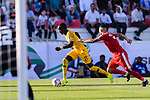 Awer Mabil of Australia (L) competes for the ball with Musab Battat of Palestine (R) during the AFC Asian Cup UAE 2019 Group B match between Palestine (PLE) and Australia (AUS) at Rashid Stadium on 11 January 2019 in Dubai, United Arab Emirates. Photo by Marcio Rodrigo Machado / Power Sport Images
