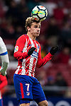Antoine Griezmann of Atletico de Madrid heads the ball during the La Liga 2017-18 match between Atletico de Madrid and CD Leganes at Wanda Metropolitano on February 28 2018 in Madrid, Spain. Photo by Diego Souto / Power Sport Images