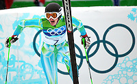 Tina Maze of Slovenia rests after her first run in the women's giant slalom at the XXI Olympic Winter Games Wednesday, February 24, 2010 in Whistler, British Columbia.