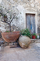 Old door of mansion in Chora at Kythera island, Greece