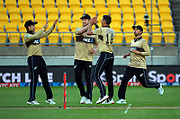 NZ's trent Boult celebrates dismissing Matthew Wade during the third international men's T20 cricket match between the New Zealand Black Capss and Australia at Sky Stadium in Wellington, New Zealand on Wednesday, 3 March 2021. Photo: Dave Lintott / lintottphoto.co.nz