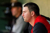 Pitcher Phil Negus #45 of the Hickory Crawdads watches from the dugout during the South Atlantic League game against the Hickory Crawdads at Fieldcrest Cannon Stadium on April 17, 2011 in Kannapolis, North Carolina.   Photo by Brian Westerholt / Four Seam Images