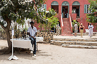 Courtyard Exhibiting the Work of Three Artists, Biannual Arts Festival, Goree Island, Senegal.  Khadim Diop and his Lost-wax Bronzes on the left.