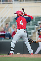 Edwin Lora (4) of the Hagerstown Suns at bat against the Kannapolis Intimidators at Kannapolis Intimidators Stadium on May 6, 2016 in Kannapolis, North Carolina.  The Intimidators defeated the Suns 5-3.  (Brian Westerholt/Four Seam Images)