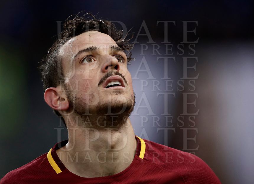 Calcio, Serie A: AS Roma - Sassuolo, Roma, stadio Olimpico, 30 dicembre 2017.<br /> Roma's Alessandro Florenzi reacts after scoring a goal disallowed for offside during the Italian Serie A football match between AS Roma and Sassuolo at Rome's Olympic stadium, 30 December 2017.<br /> UPDATE IMAGES PRESS/Isabella Bonotto