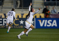 Alex Morgan (21) of the USWNT celebrates her goal during an international friendly at PPL Park in Chester, PA.  The U.S. tied China, 1-1.
