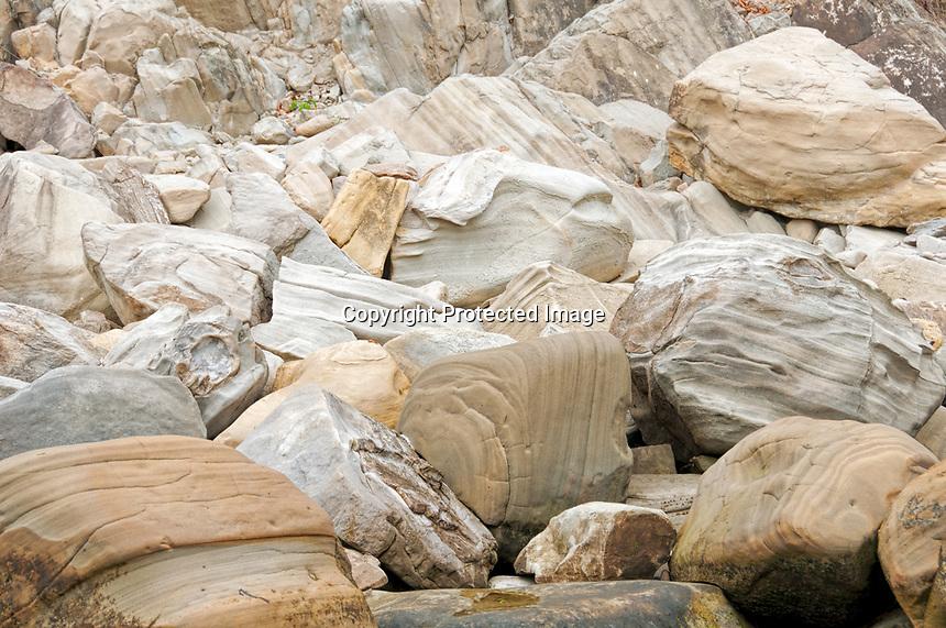 A pile of eroded rocks at Sunset Bay, Oregon.
