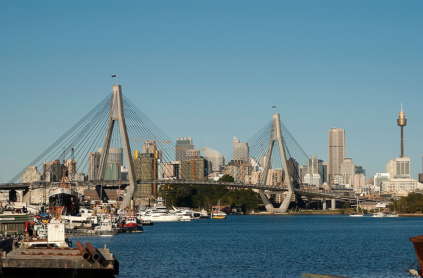 Anzac Bridge and Sydney's CBD from Rozelle Bay