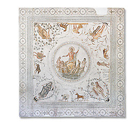 Roman mosaic panel of the Triumph of Neptune and  the mytrhical legend of The Four Seasons. From the private baths at Caput Vada (La Chebbs). End of the reign of Antoninus Pius, 138-161 AD. From Cheba, Tunisia.  The Thugga Room of The Bardo Museum, Tunis, Tunisia. White background