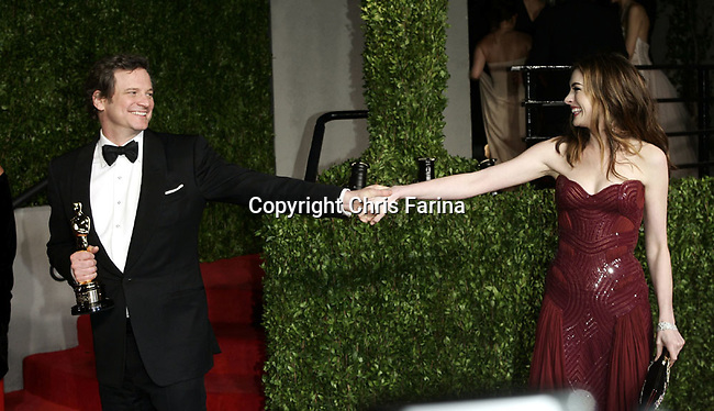 Colin Firth and Anne Hathaway arrive at the 2011 Vanity Fair Academy Awards Oscars® Party at Sunset Tower Hotel in West Hollywood.