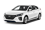 2017 Hyundai Ioniq-Hybrid Executive 5 Door Hatchback Angular Front stock photos of front three quarter view