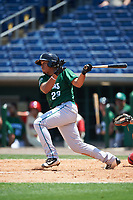 Daytona Tortugas first baseman Avain Rachal (23) hits a home run during a game against the Clearwater Threshers on April 20, 2016 at Bright House Field in Clearwater, Florida.  Clearwater defeated Daytona 4-2.  (Mike Janes/Four Seam Images)