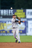 Staten Island Yankees shortstop Angel Aguilar (12) throws to first during a game against the Batavia Muckdogs on August 27, 2016 at Dwyer Stadium in Batavia, New York.  Staten Island defeated Batavia 13-10 in eleven innings.  (Mike Janes/Four Seam Images)