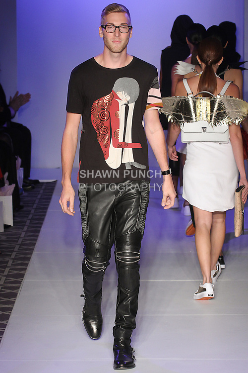 Designer Bryant Phelan walks runway with models for the close of his O Faolain Spring Summer handbag collection fashion show, for the Designer's Collective fashion show, at Fashion Gallery NYFW Spring Summer 2016 show, during New York Fashion Week.